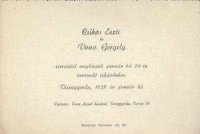 Csíkos Eszti és Vona Gergely esküvői meghívója