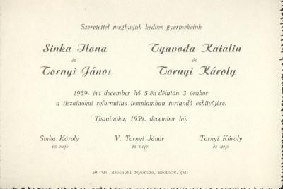 Sinka Ilona és Tornyi János, valamint Tyavoda Katalin és Tornyi Károly esküvői meghívója