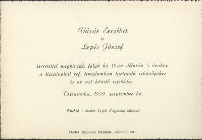 Vásár Erzsébet és Lepés Zsigmond esküvői meghívója