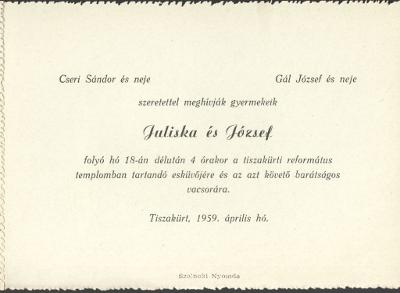 Cseri Juliska és Gál József esküvői meghívója