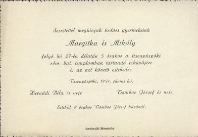 Margitka és Mihály esküvői meghívója