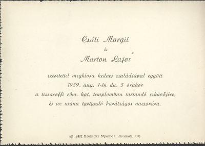 Csáti Margit és Marton Lajos esküvői meghívója