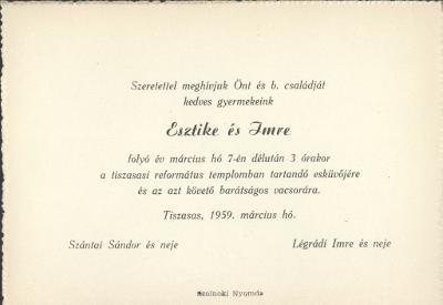 Szántai Esztike és Légrádi Imre esküvői meghívója
