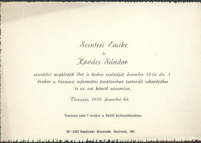 Szentesi Emike és Kovács Sándor esküvői meghívója