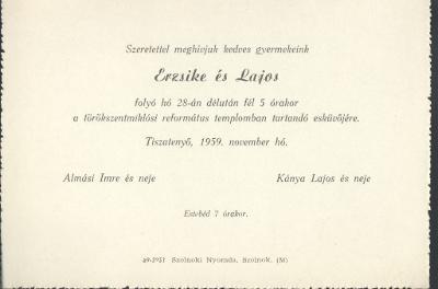 Almási Esztike és Kánya Lajos esküvői meghívója