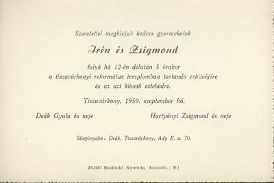 Deák Irén és Hartyányi Zsigmond esküvői meghívója