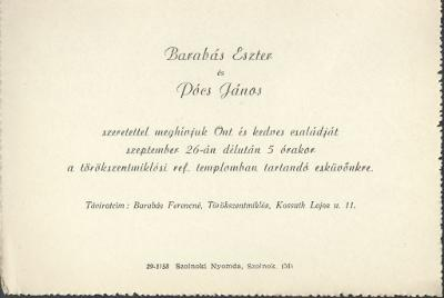 Barabás Eszter és Pócs János esküvői meghívója