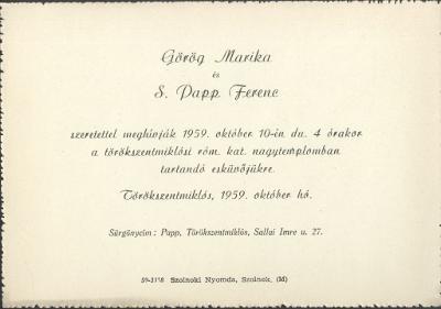 Görög Marika és S. Papp Ferenc esküvői meghívója