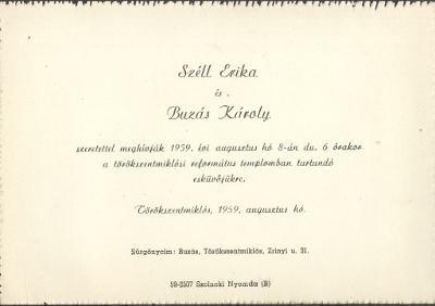 Széll Erika és Buzás Károly esküvői meghívója