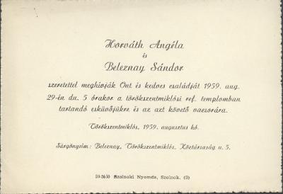 Horváth Angéla és Beleznay Sándor esküvői meghívója