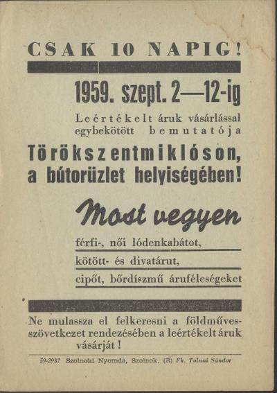 Leértékelt áruk vásárlással egybekötött bemutatója 1959. szeptember 2-12