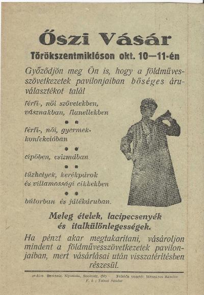 Őszi vásár Törökszentmiklóson 1959. október 10-11-én.