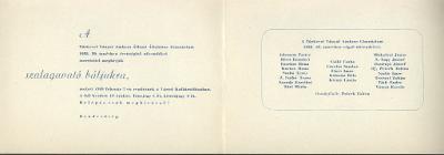 Meghívó a Ványai Ambrus Gimnázium szalagavató báljára, 1959. február 7-én.