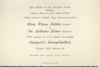Rácz Klára Ildikó és Dr. Lakatos János 1959. március 31-én tartják eljegyzési ünnepségüket