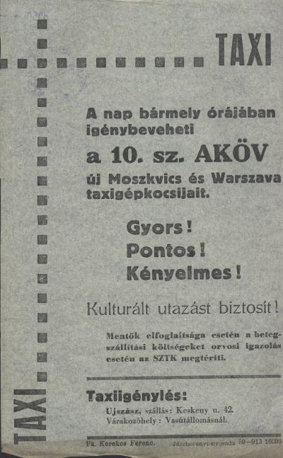 Vegye igénybe az új Moszkvics és Warszava taxigépkocsikat!