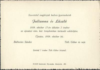 Julianna és László esküvői meghívója