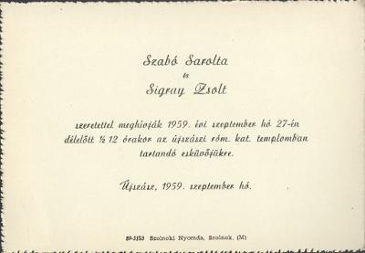 Szabó Sarolta és Sigray Zsolt esküvői meghívója