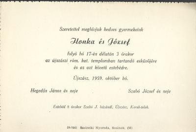 Hegedűs Ilonka és Szabó József esküvői meghívója
