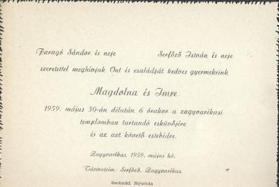 Magdolna és Imre esküvői meghívója