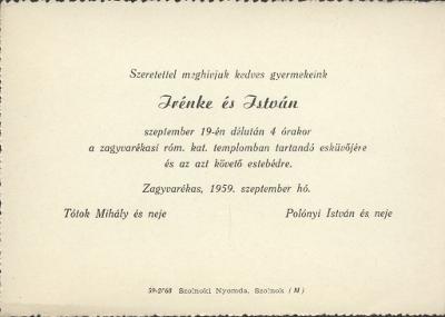 Tótok Irénke és Polónyi István esküvői meghívója
