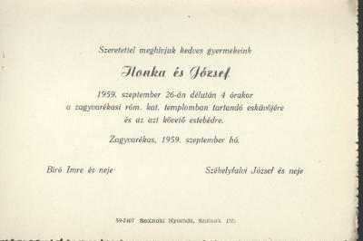Bíró Ilonka és Székelyfalvi József esküvői meghívója