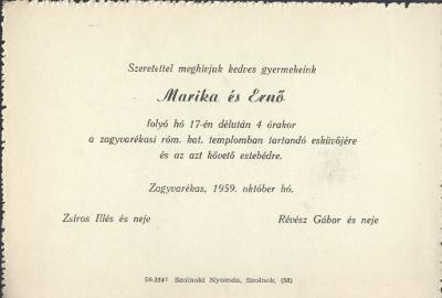Marika és Ernő esküvői meghívója