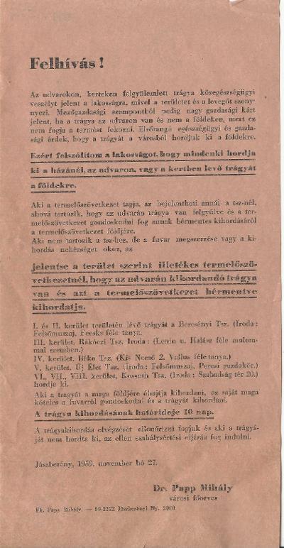 Dr. Papp Mihály városi főorvos felhívása