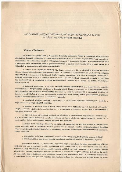 Az MSZMP városi Végrehajtó Bizottságának levele a párt alapszervezetéhez