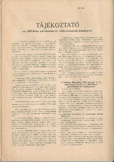 Tájékoztató az 1959/60-as pártoktatási év előkészítésének feladatairól