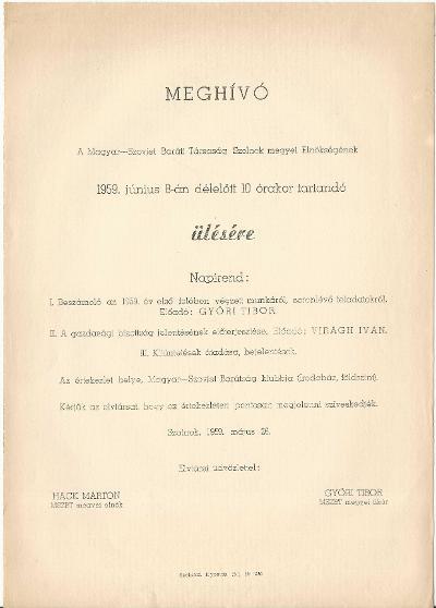 Meghívó a Magyar-Szovjet Társaság elnökségi ülésére