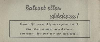Baleset ellen védekezz! Szolnoki Papírgyár időellenőrzőlapja