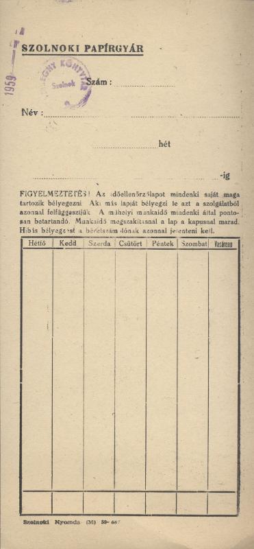 Szolnoki Papírgyár órakártyája