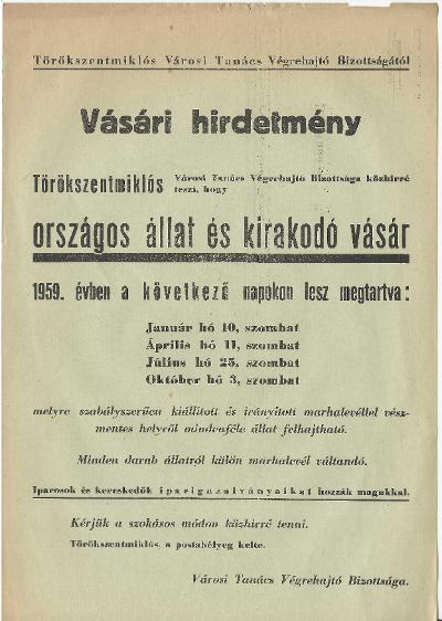 1959. évi országos állat és kirakodó vásár időpontjai