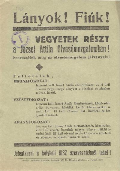 Vegyetek részt a József Attila Mozgalomban!