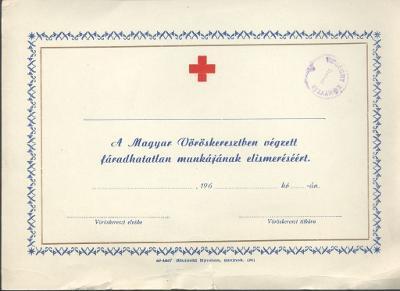 Emléklap a Magyar Vöröskeresztben végzett munka elismerésére