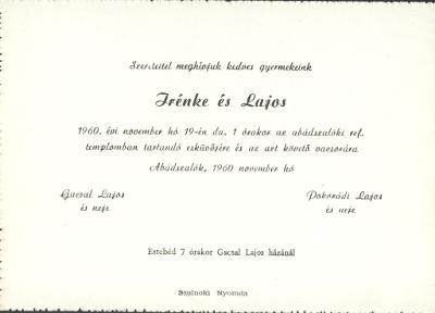 Irénke és Lajos esküvői meghívója