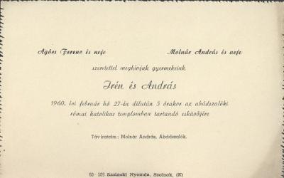 Irén és András esküvői meghívója