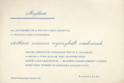 Meghívó a jászapáti FMSZ éttermében rendezendő zártkörű műsoros cigánybálra