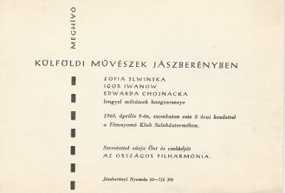 Meghívó lengyel művészek hangversenyére
