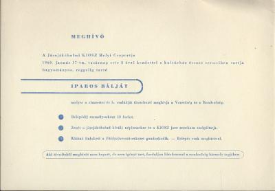 A jászjákóhalmi KIOSZ Helyi Csoportjának meghívója Iparos bálra