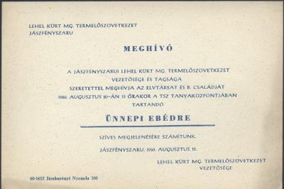 Meghívó a jászfényszarui Lehel Kürt MG. Termelőszövetkezet ünnepi ebédjére