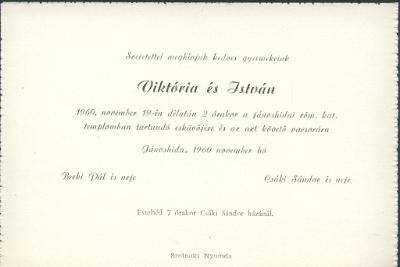 Viktória és István esküvői meghívója