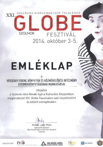Globe fesztivál emléklapja