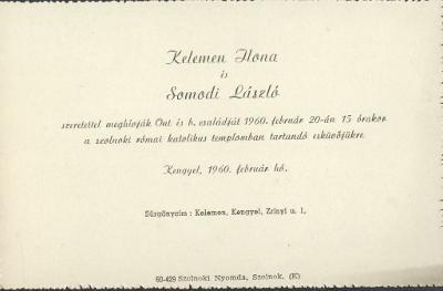 Kelemen Ilona és Somodi László esküvői meghívója