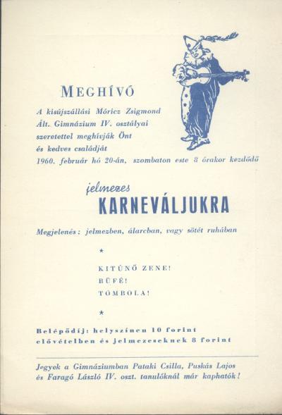 Meghívó a kisújszállási Móricz Zsigmond Általános Gimnázium jelmezes karneváljára