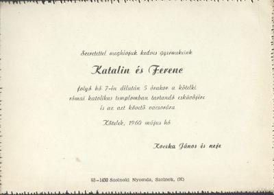 Katalin és Ferenc esküvői meghívója