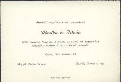 Bugyik Rózsika és Borbély István esküvői meghívója