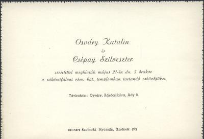 Osváry Katalin és Csépay Szilveszter esküvői meghívója