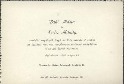 Baki Mária és Széles Mihály esküvői meghívója