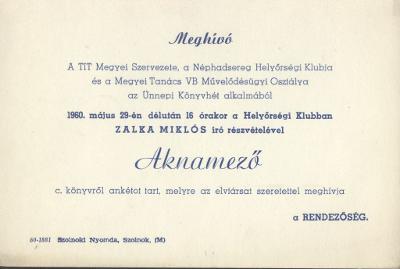 """Meghívó Zalka Miklós """"Aknamező"""" című könyvének bemutatójára"""